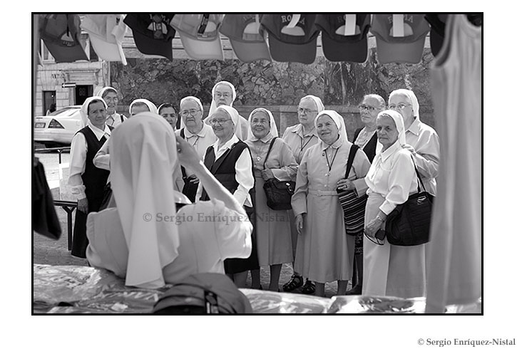 Group of nuns taking pictures Piazza di Spagna Italia