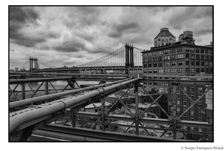 View of Manhattan Bridge from Brooklyn Bridge New York City