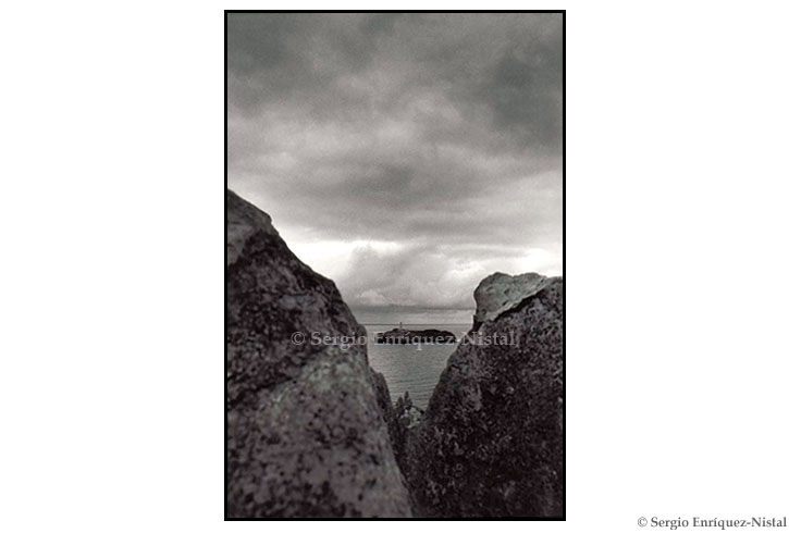 Lighthouse Island Through the Rocks Sardinero Santander